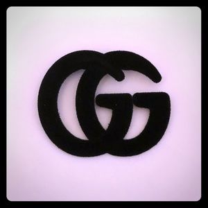 GG Brooch Pin Black suede NEW